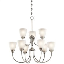 Jolie 9 Light Chandelier with LED Bulbs Brushed Nickel