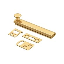 """4"""" Surface Bolt, Concealed Screw, HD - PVD Polished Brass"""