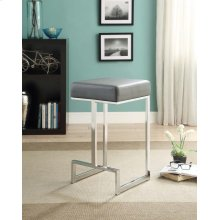 Contemporary Chrome and Grey Counter-height Stool