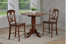 "Sunset Trading 3 Piece Andrews 42"" Round Drop Leaf Pub Table Set with Napoleon Stools"