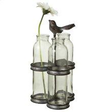 Antique Silver Three Bottle Vase with Bird Stand