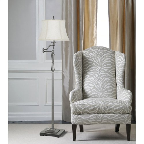150W 3 Way Madison Metal Swing Arm Floor Lamp With SofTBack Fabric Shade