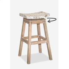 Cordova Bar Stool w/Coconut Top - White Wash (17x17x30) (Assembly Required)