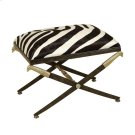 IRON BENCH WITH FAUX ZEBRA HAIR ON HIDE UPHOLSTERY Product Image