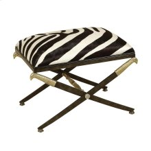 IRON BENCH WITH FAUX ZEBRA HAIR ON HIDE UPHOLSTERY