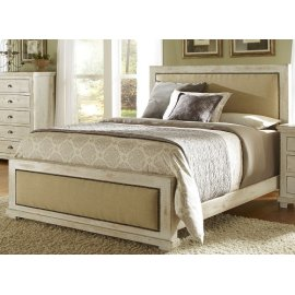 King Distressed White Upholstered Bed