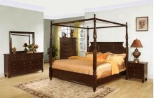 Queen Canopy Bed, Dresser, Mirror, Chest, and Nightstand