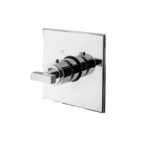 Gloss Black Square Thermostatic Trim Plate with Handle