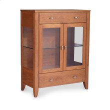 Justine 2-Door Dining Cabinet, 2 Doors with Plain Glass Doors and Ends