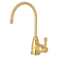 Italian Brass Italian Kitchen Traditional C-Spout Hot Water Faucet with Metal Lever