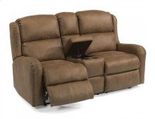 Cameron Fabric Reclining Loveseat with Console