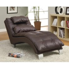 Contemporary Brown Faux Leather Chaise