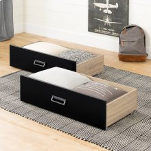 Set of 2 Storage Drawers on Wheels - Rustic Oak and Matte Black