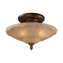 Restoration 4-Light Semi Flush in Golden Bronze with Amber Glass