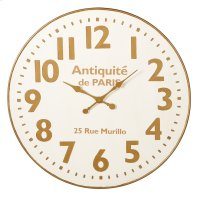 White & Gold Wall Clock. Product Image