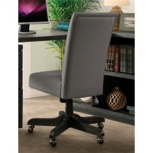 Perspectives - Upholstered Back Desk Chair - Ebonized Acacia Finish