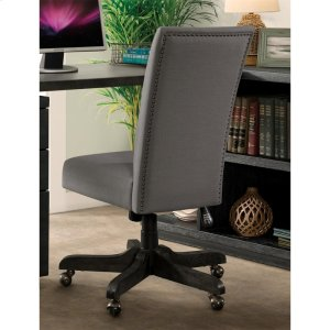RiversidePerspectives - Upholstered Back Desk Chair - Ebonized Acacia Finish
