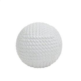 "White Ceramic Rope Orb 6.25"""