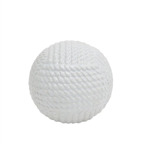 White Ceramic Rope Orb 6.25""