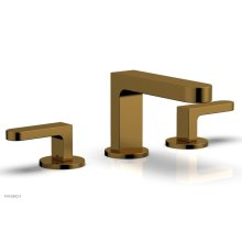 ROND Widespread Faucet - Lever Handles Low Spout 183-05 - French Brass