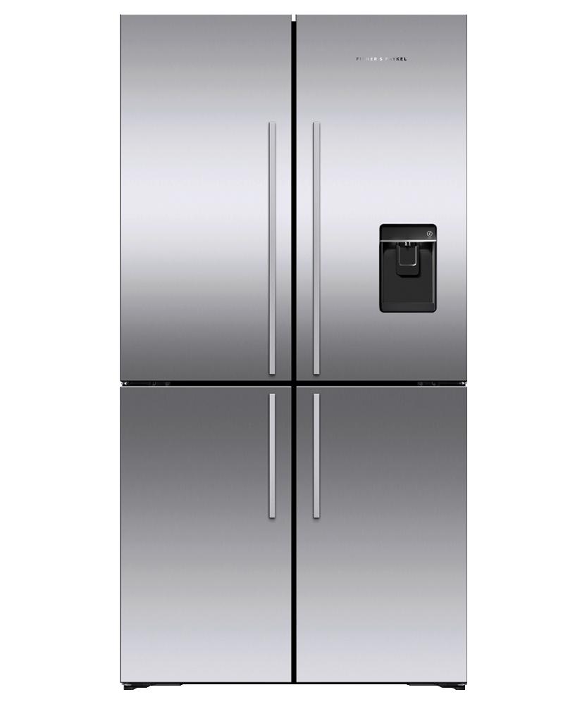 """Fisher & PaykelFreestanding Quad Door Refrigerator Freezer, 36"""", 18.9 Cu Ft, Ice & Water"""