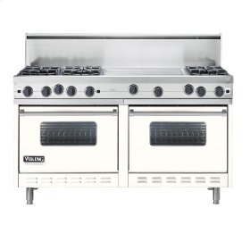 "Cotton White 60"" Open Burner Commercial Depth Range - VGRC (60"" wide, six burners 24"" wide griddle/simmer plate)"