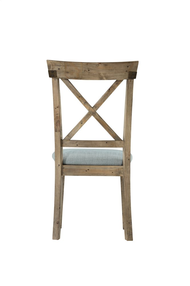 Emerald Home Valencia X Back Side Chair W/uph Seat Natural Reclaimed Pine