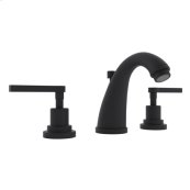 Matte Black Lombardia C-Spout Widespread Lavatory Faucet with Metal Lever
