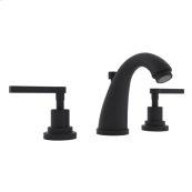 Matte Black Lombardia C-Spout Widespread Lavatory Faucet with Metal Lever