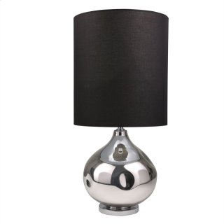 "Glass 37"" Oval Table Lamp, Silver"