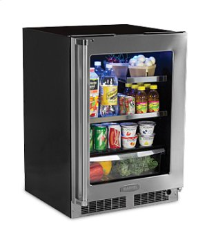 "24"" Beverage Refrigerator with Drawer - Stainless Frame, Glass Door With Lock - Integrated Right Hinge"