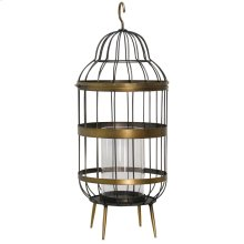 Caged Flame  10in Dai X 25in Ht. Brass Metal Candle Cage