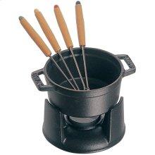 Staub Cast Iron 0.25-qt Mini Chocolate Fondue Set, Black Matte