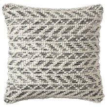 Herringbone Berber Pillow, BLACK, 18X18