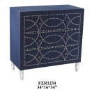 Cobalt Blue Fabric and Chrome Nailhead 3 Drawer Chest Product Image