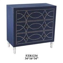 Cobalt Blue Fabric and Chrome Nailhead 3 Drawer Chest