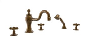 Deck Tub Set with Hand Shower Cross Handles - Satin Gold Antiqued