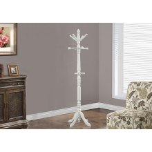 "COAT RACK - 73""H / ANTIQUE WHITE WOOD TRADITIONAL STYLE"