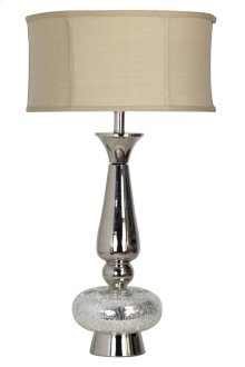 Mercury glass and metal spinning table lamp with custom linen shade