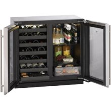 """Stainless Double Door, lock model Modular 3000 Series / 36"""" Wine Captain® / Beverage Center / Dual Zone Convection Cooling System"""