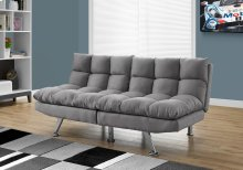 FUTON - SPLIT BACK CONVERTIBLE SOFA / GREY MICRO-SUEDE
