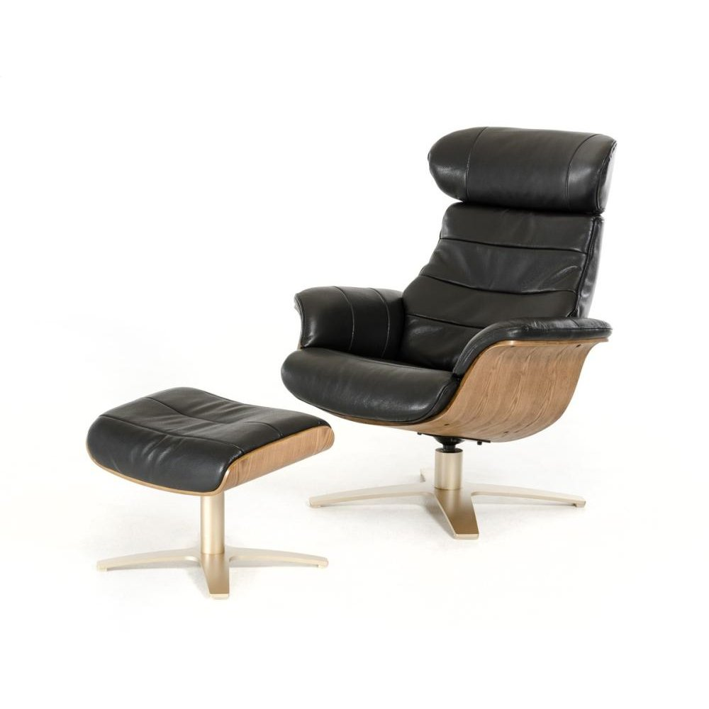 Divani Casa Charles Modern Black Leather Reclining Chair w/ Ottoman