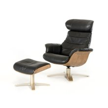 Divani Casa Charles Modern Black Leather Reclining Chair w/ Ottoman