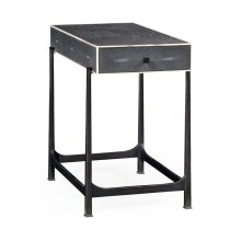 Anthracite Faux Shagreen & Bronze Iron Side Table