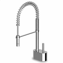 Pan single lever sink mixer with adjustable spray, aerator, flexible tails.