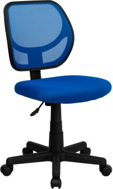 Low Back Blue Mesh Swivel Task Office Chair