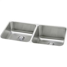 "Elkay Lustertone Classic Stainless Steel 30-3/4"" x 18-1/2"" x 10"", Equal Double Bowl Undermount Sink w/Perfect Drain"