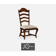 Rustic Walnut Dining Side Chair, Upholstered in MAZO