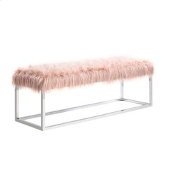 LG Bench-metal Stainless Steel Frame-pink Fur #asf012 Product Image