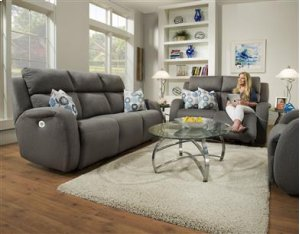 Double Reclining Loveseat w/ Power Headrest & Pillows